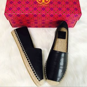 Tory Burch Shoes - {Tory Burch} Perforated Logo Flat Espadrilles